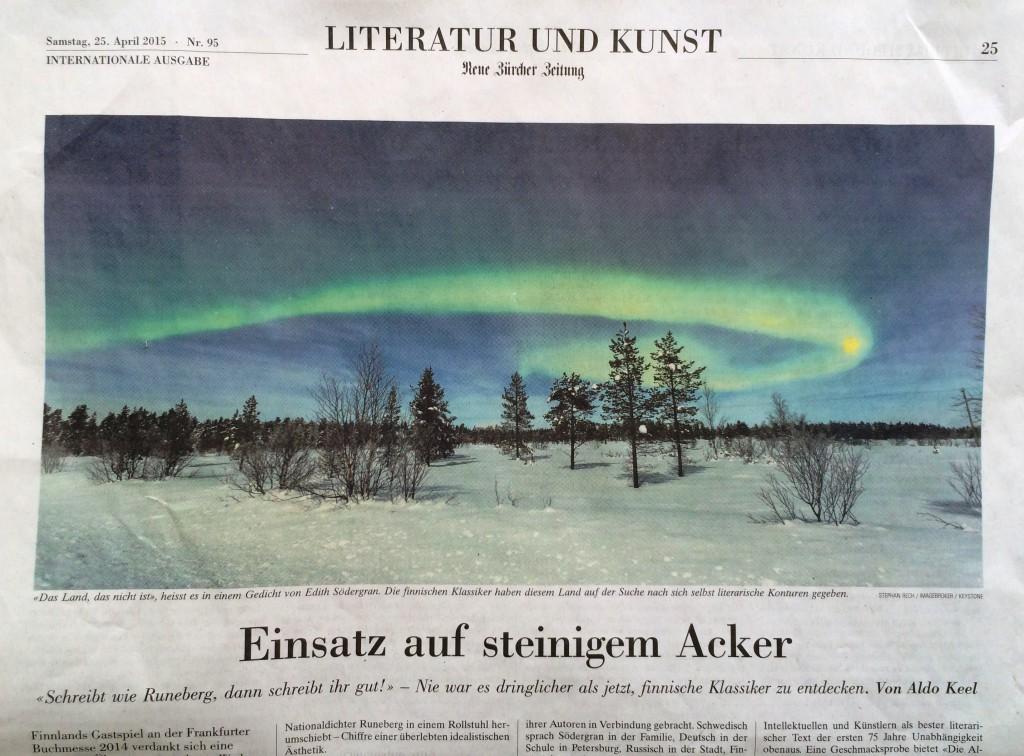 Polarlicht über Finnland, Neue Zürcher Zeitung 25. April 2015